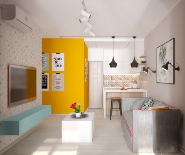 Свеж и колоритен интериорен проект за малък апартамент [42 м²]