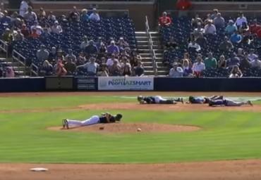 Пчели натръшкаха бейзболисти на земята (Видео)