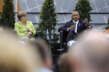 Берлин се обясни в любов на Обама (СНИМКИ)