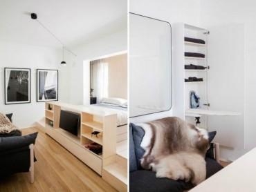 Миниатюрен амартамент с интересни идеи за спестяване на място [22 м²]