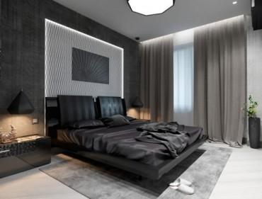 Изискан проект за интериор на спалня в монохромни цветове