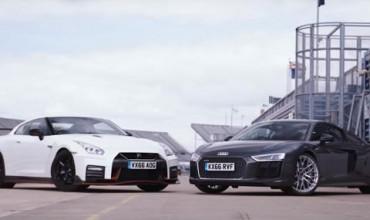 Nissan GT-R NISMO срещу Audi R8 V10 Plus