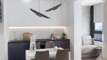 Симпатичен проект за малка кухня с приобщен балкон