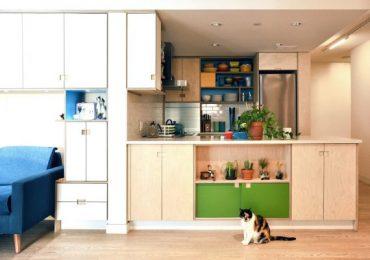 Интериор на апартамент с площ от 56 м², който се възползва от всеки сантиметър