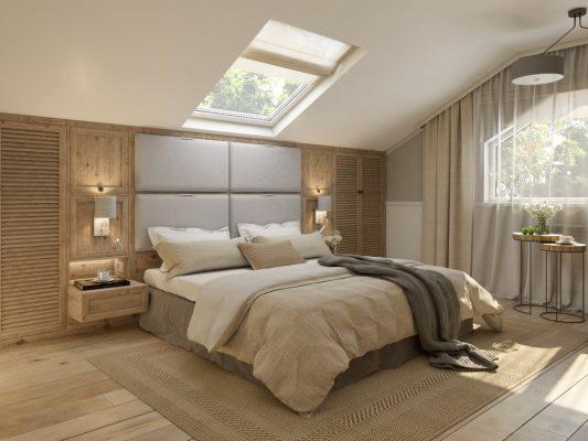 Проект за интериор на спалня, част от съвременна градска къща