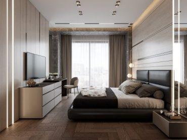 Невероятен интериор на спалня с елементи от камък и дърво