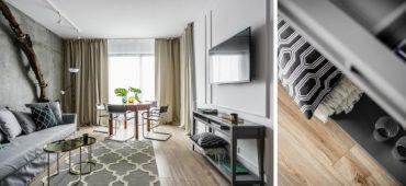 Стилен интериор на двустаен апартамент с креативни декоративни елементи