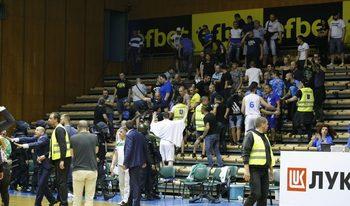 Хулигански ексцесии прекратиха финала в баскетболното първенство