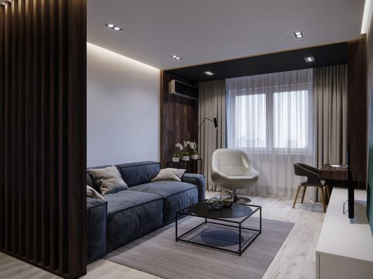 Интериорен дизайн на панелен апартамент в съвременен минималистичен стил [60 м²]