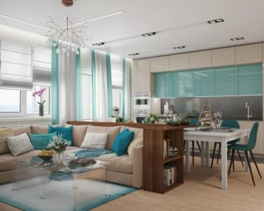 Проект за тристаен апартамент със свеж интериор в морски стил