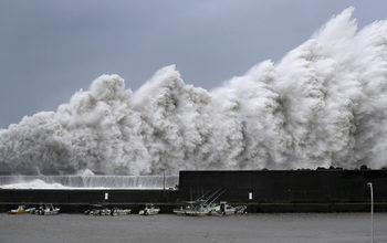 Фотогалерия: Тайфунът Джеби връхлетя Япония