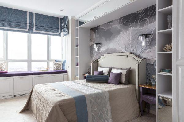 Прекрасен дизайн на спалня в нюанси на лавандула