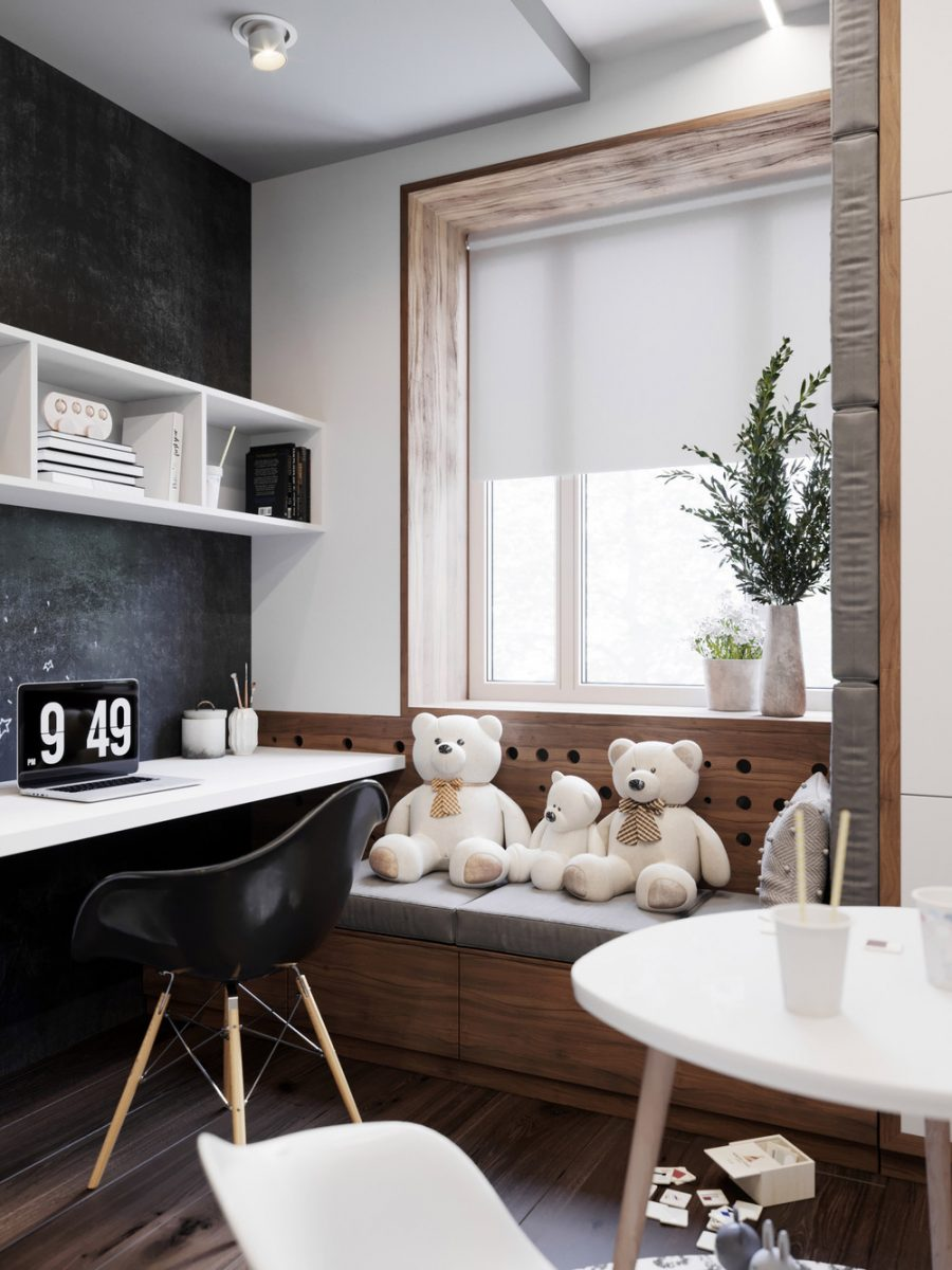 Проект за стилна детска стая с няколко творчески зони