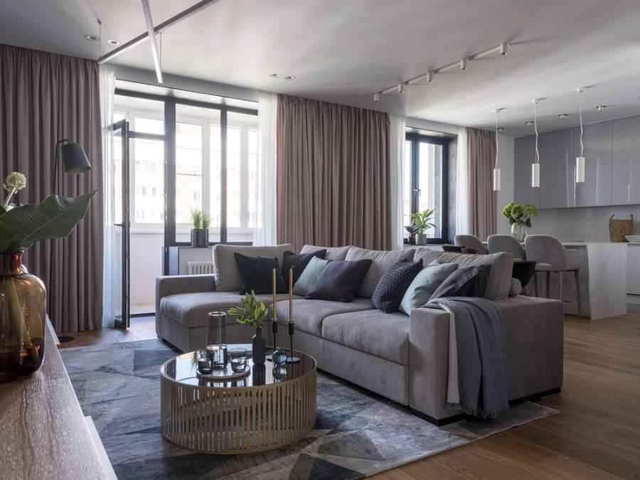 Модерен интериор на просторен тристаен апартамент [110 м²]