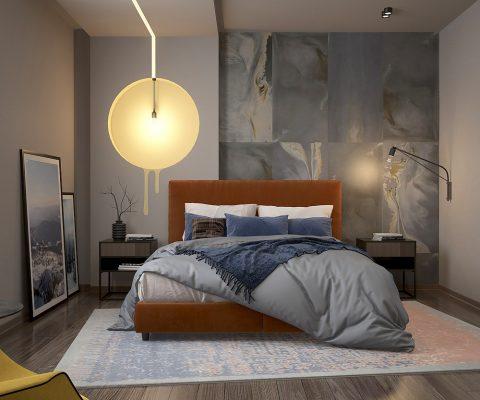 Проект за спалня с прилежаща баня в модерен стил