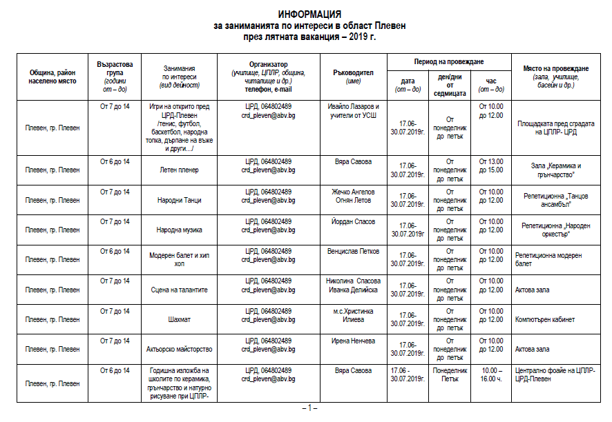 Започват безплатните занимания за деца в Плевен (график)