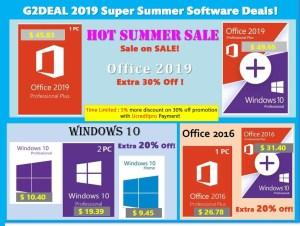 G2DEAL предлага горещи летни оферти със страхотни отстъпки за Windows 10 и Office 2016/2019