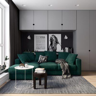 Просторен и функционален интериор на малък едностаен апартамент [ 30 м²]
