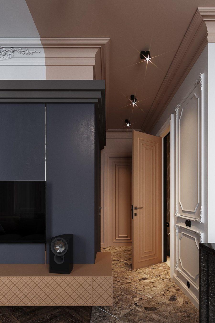 Малък апартамент с интересен интериор, вдъхновен от Москва и Париж
