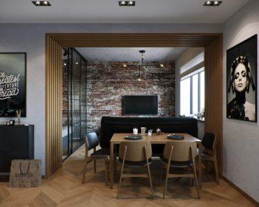 Проект за едностаен апартамент с модерен младежки дизайн