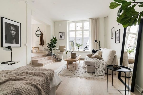 Скандинавски минимализъм в малко студио [55 м²]