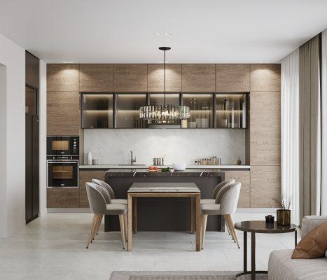 Прекрасен проект за кухня, трапезария и дневна зона в едно помещение [37 м²]