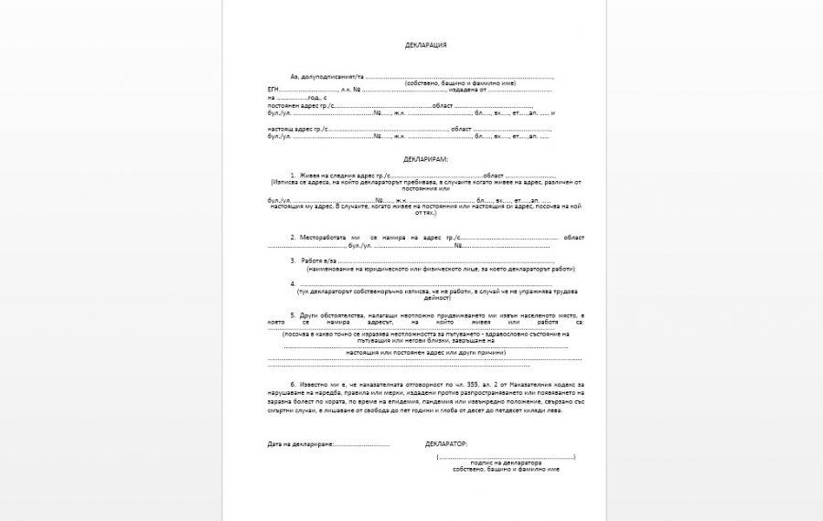 МВР предоставя нова декларация за пътуващите