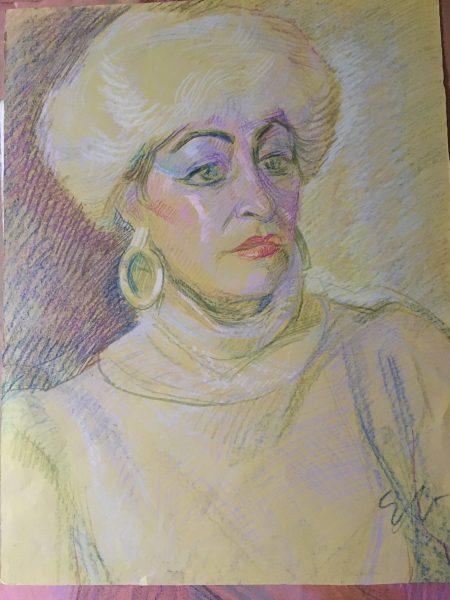 Елка Найденова, Портрет на жена, Пастел, 45×75см