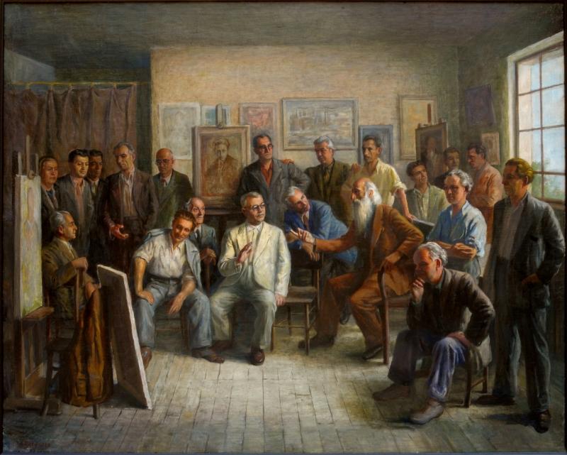 Асен Василиев – Обсъждане на картина 1952